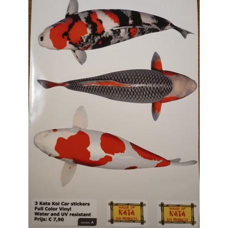 Planche auto-collants de 3 Koï de 20,5 cm